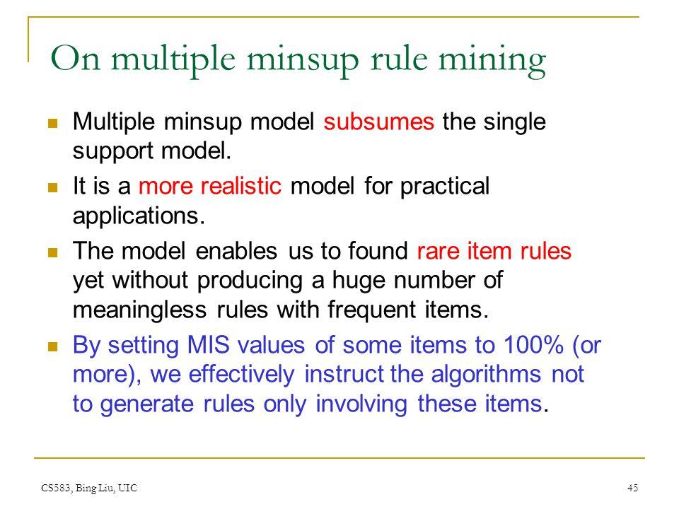 On multiple minsup rule mining