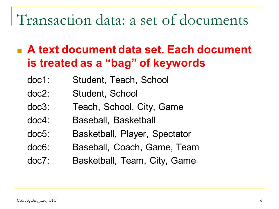 Transaction data: a set of documents