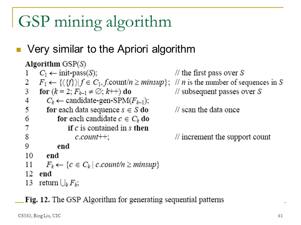 GSP mining algorithm Very similar to the Apriori algorithm