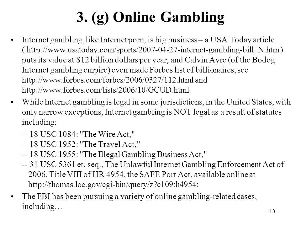 3. (g) Online Gambling