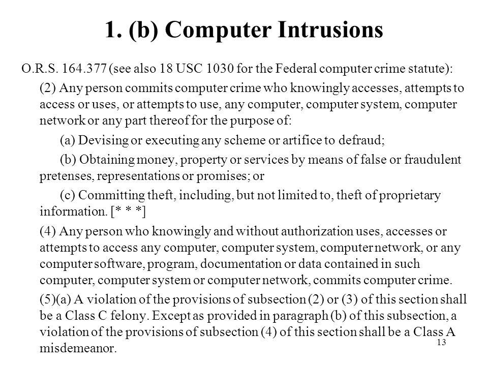 1. (b) Computer Intrusions