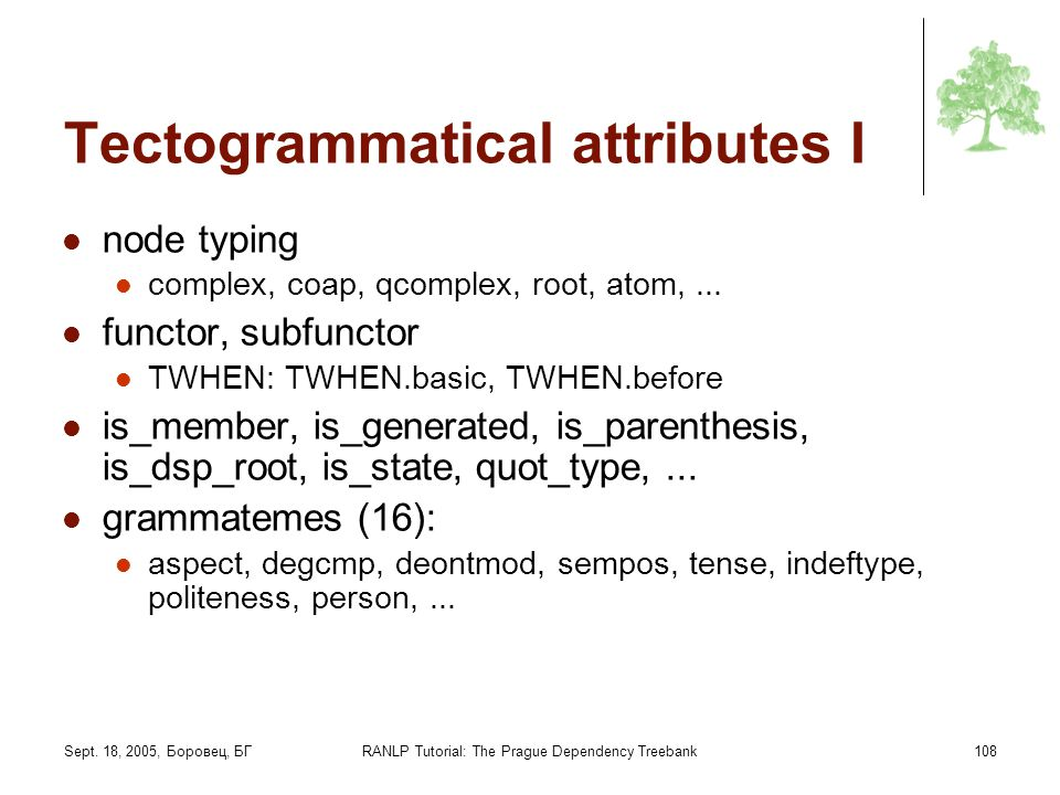 Tectogrammatical attributes I