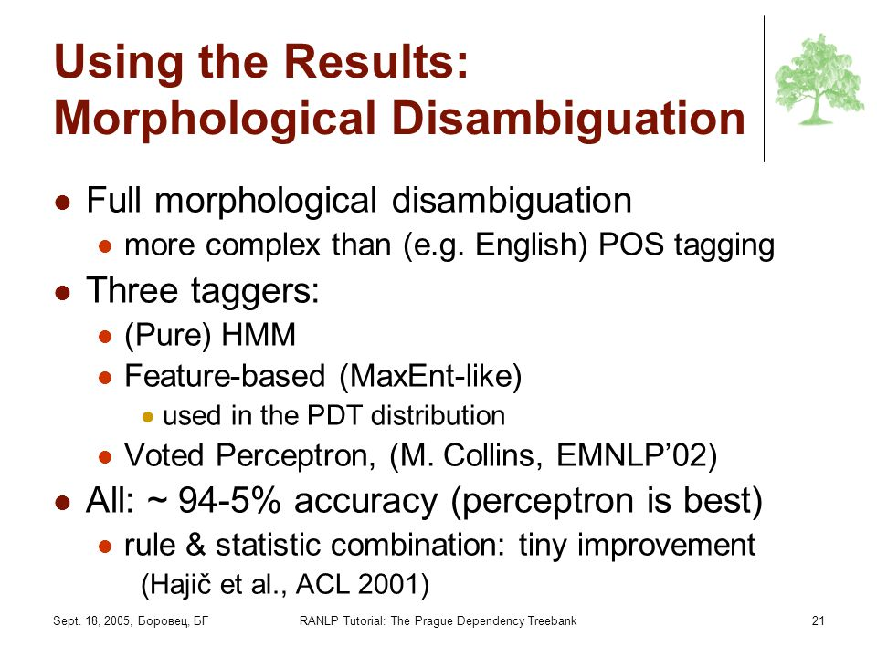 Using the Results: Morphological Disambiguation