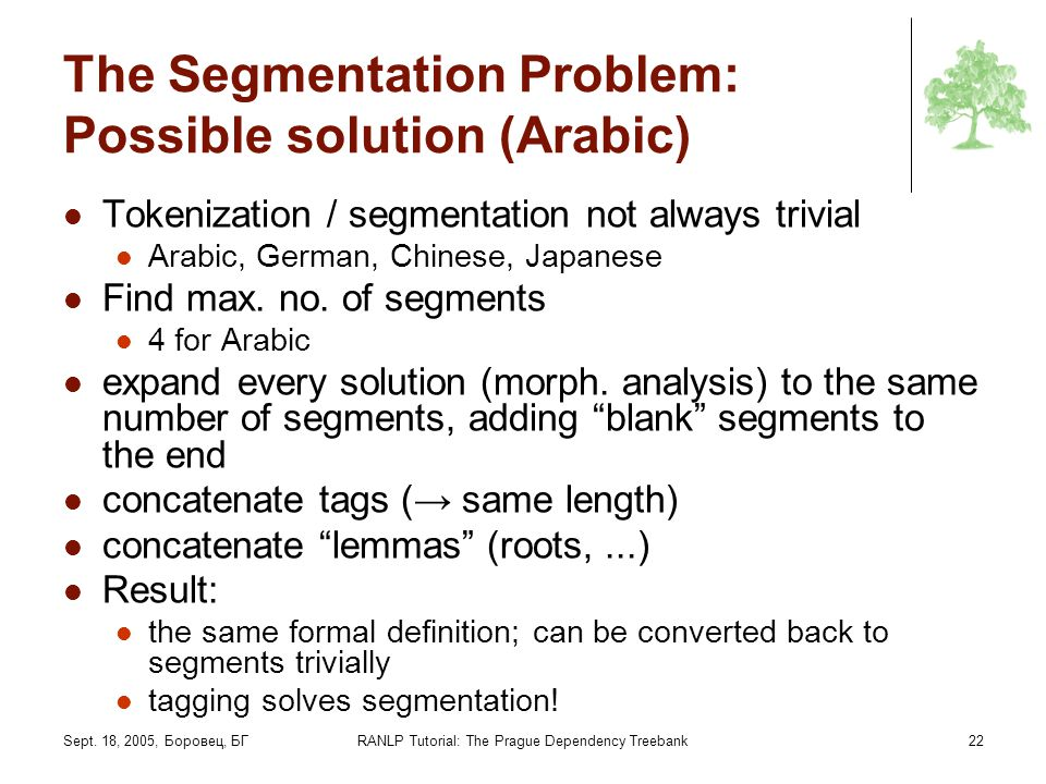 The Segmentation Problem: Possible solution (Arabic)