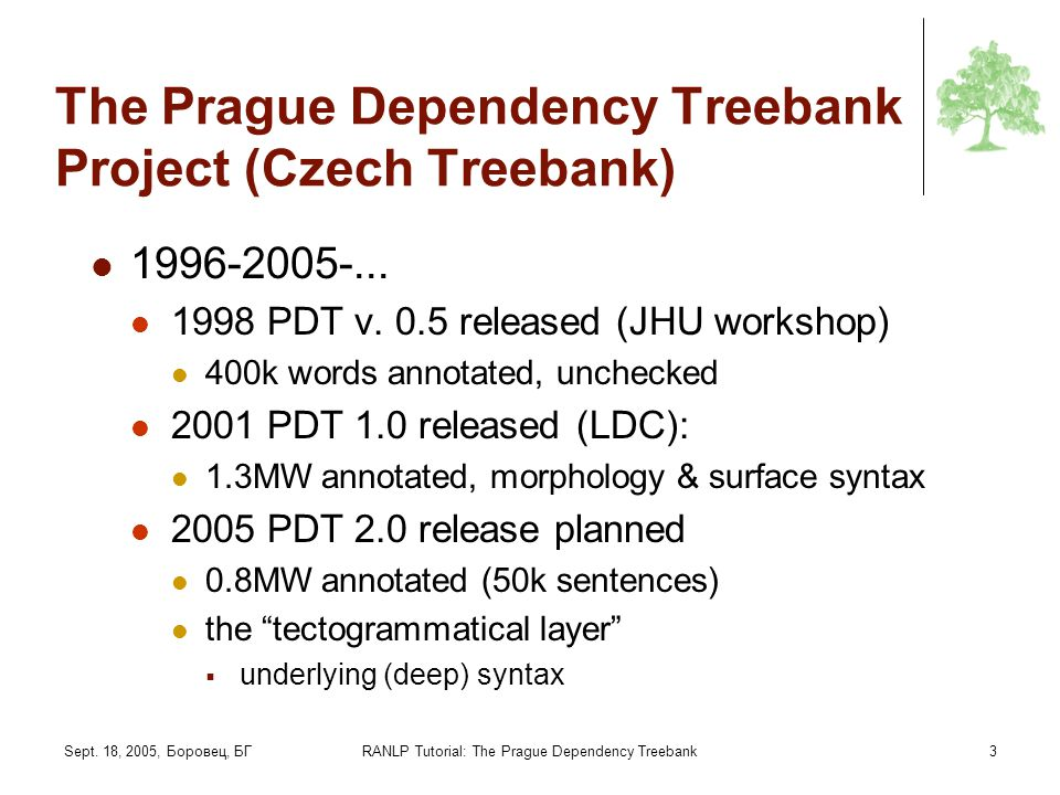 The Prague Dependency Treebank Project (Czech Treebank)