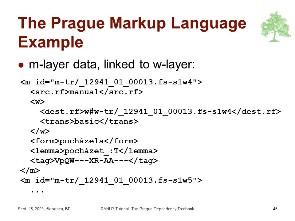 The Prague Markup Language Example