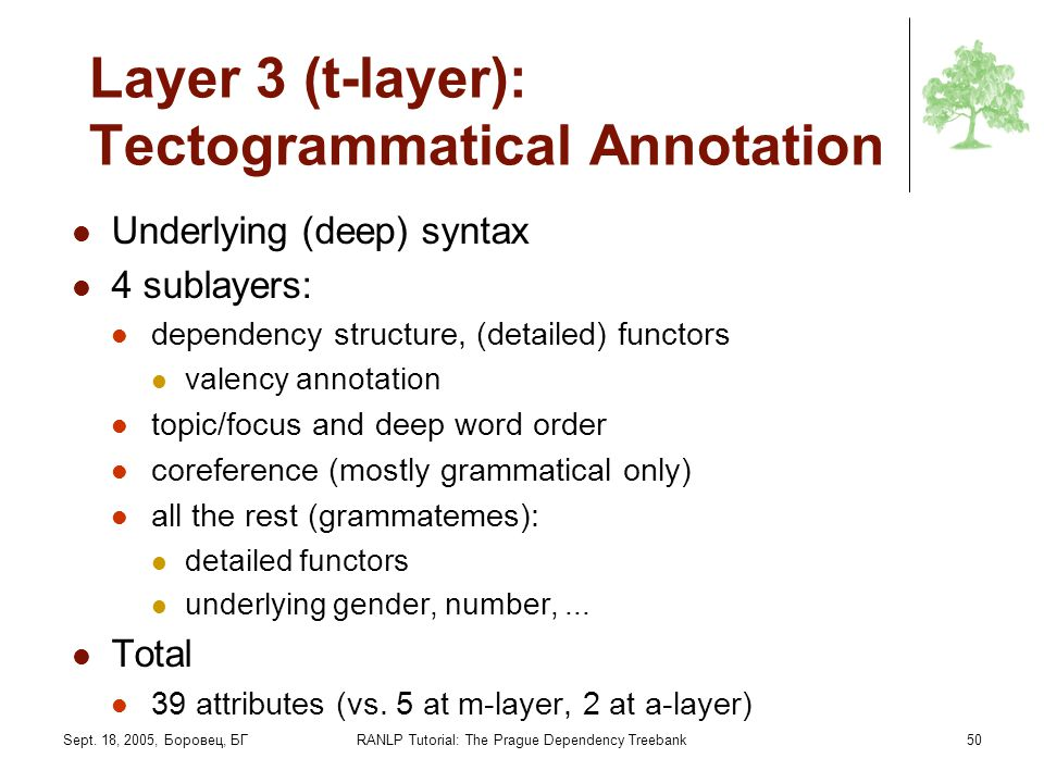 Layer 3 (t-layer): Tectogrammatical Annotation