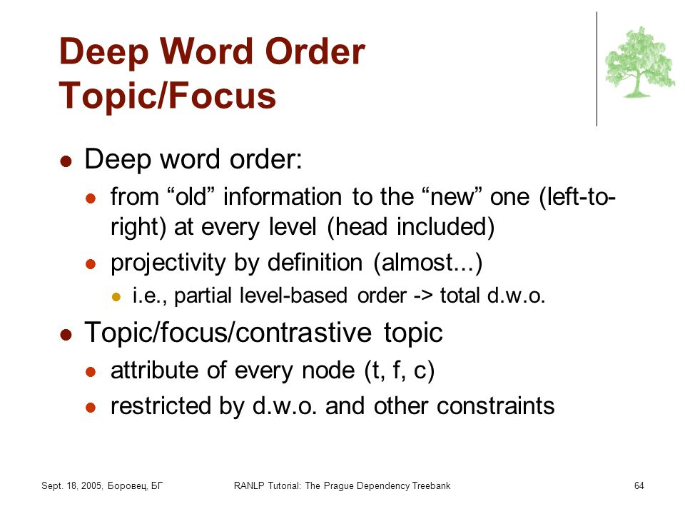 Deep Word Order Topic/Focus