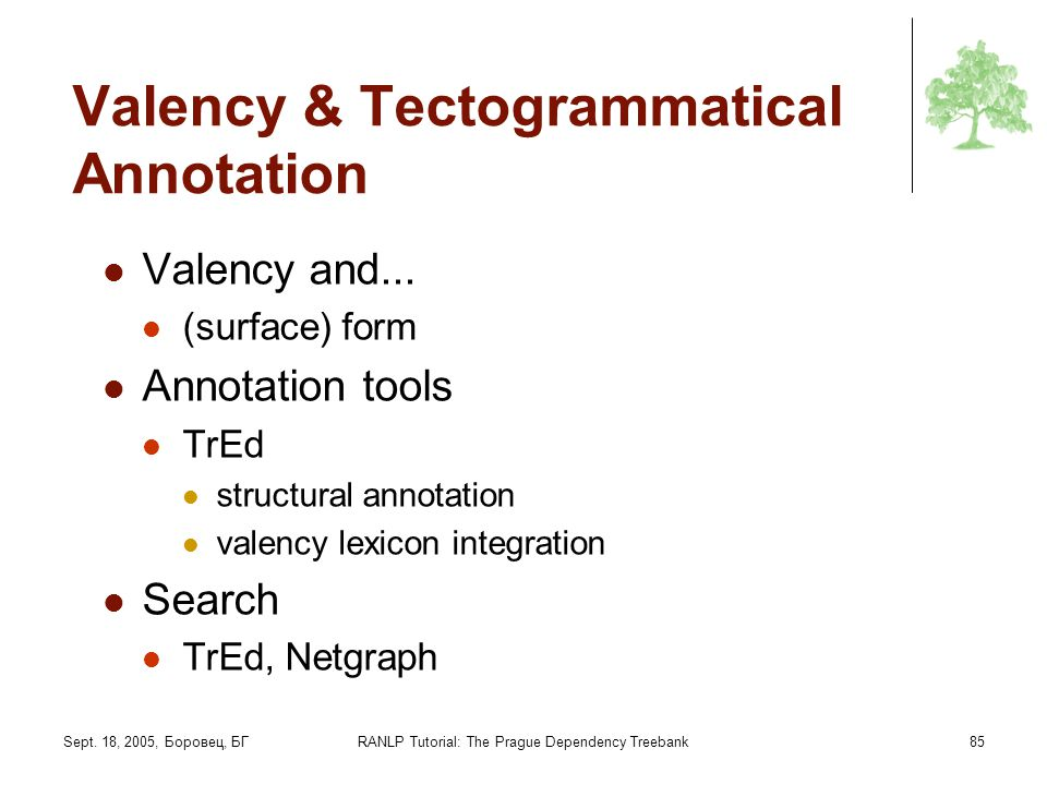 Valency & Tectogrammatical Annotation
