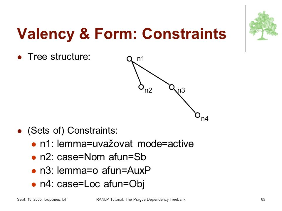 Valency & Form: Constraints