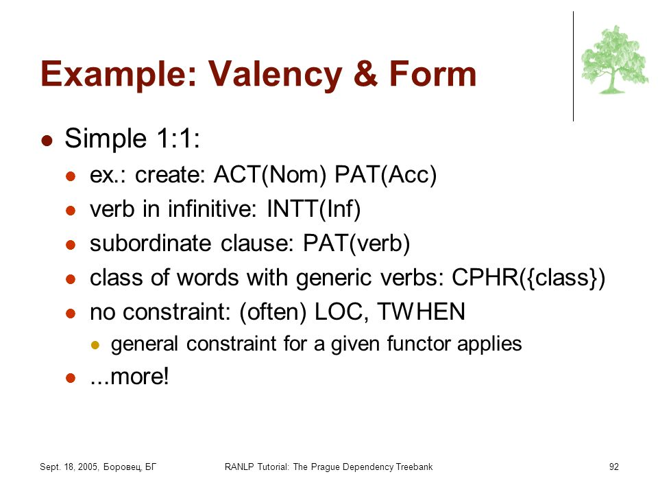 Example: Valency & Form