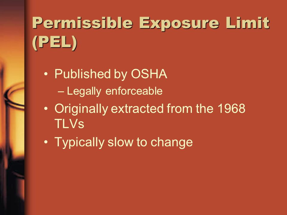 Permissible Exposure Limit (PEL)