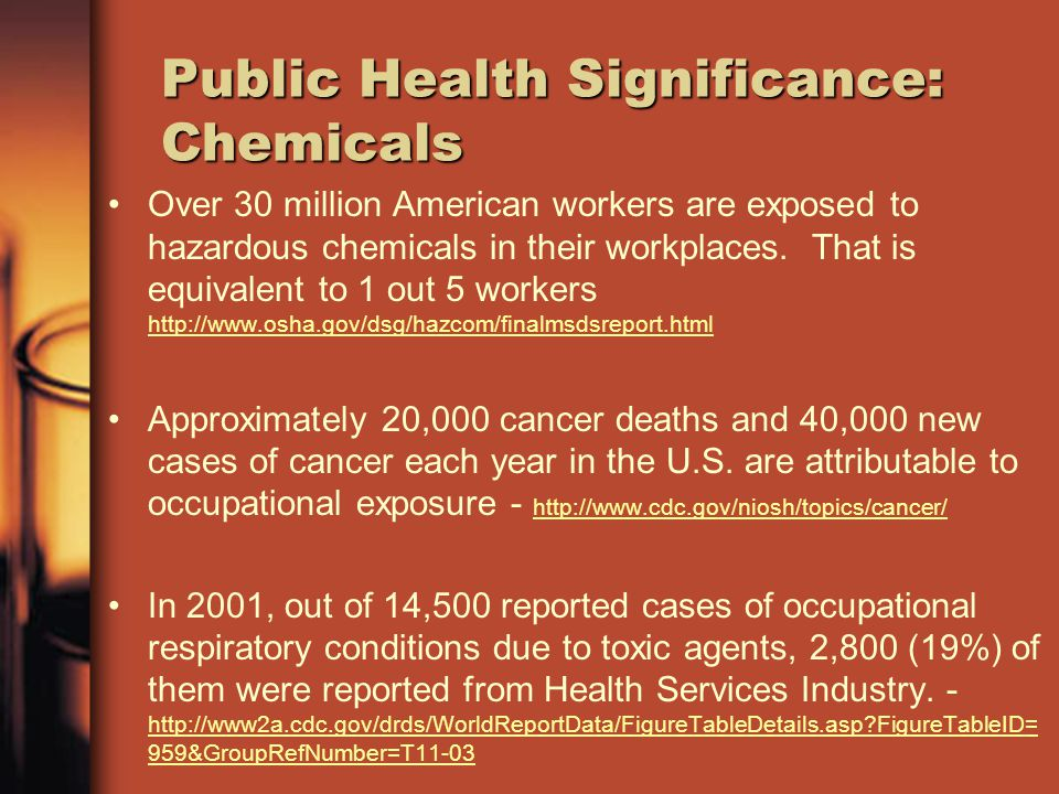 Public Health Significance: Chemicals