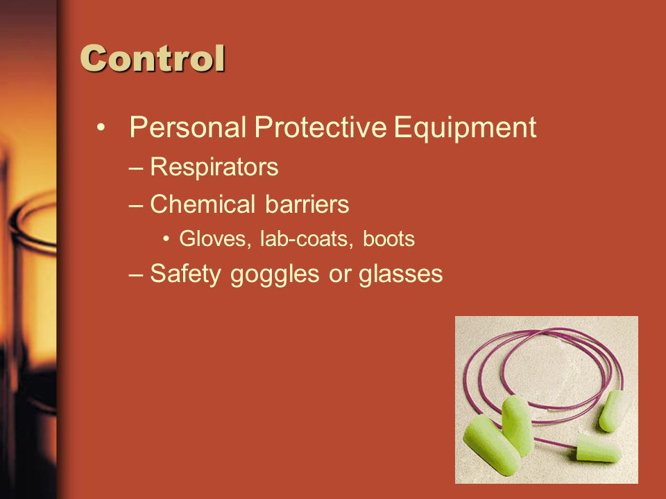Control Personal Protective Equipment Respirators Chemical barriers