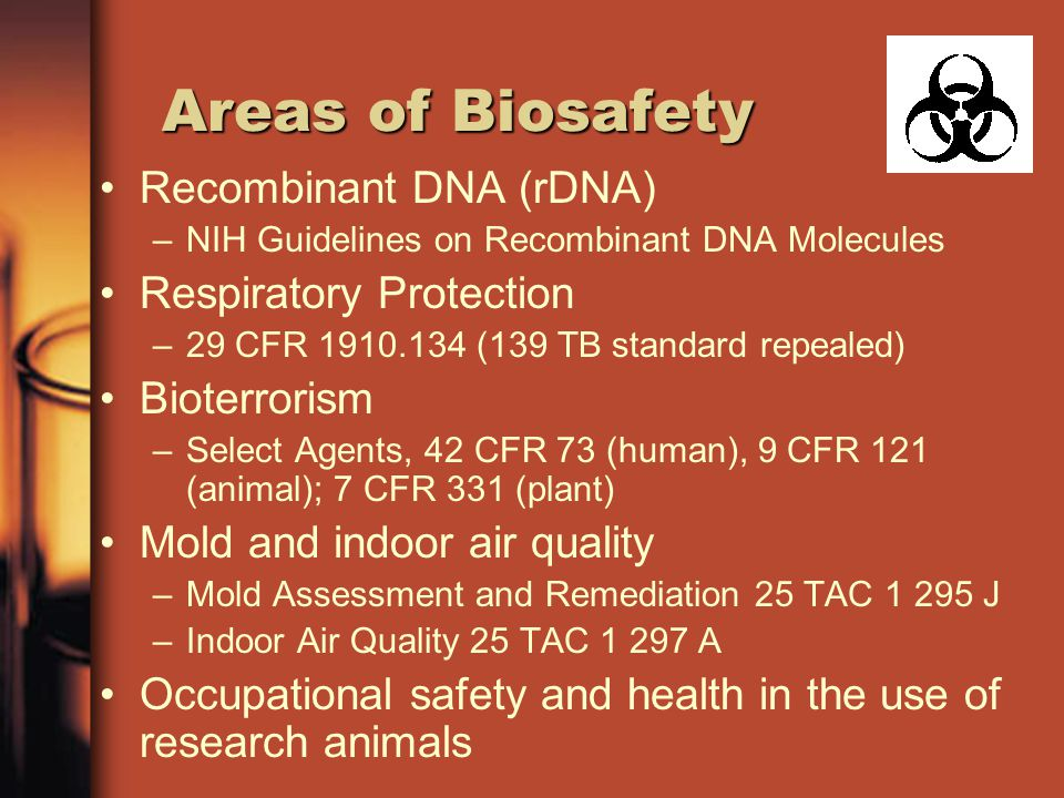 Areas of Biosafety Recombinant DNA (rDNA) Respiratory Protection