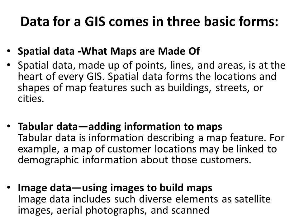 Data for a GIS comes in three basic forms: