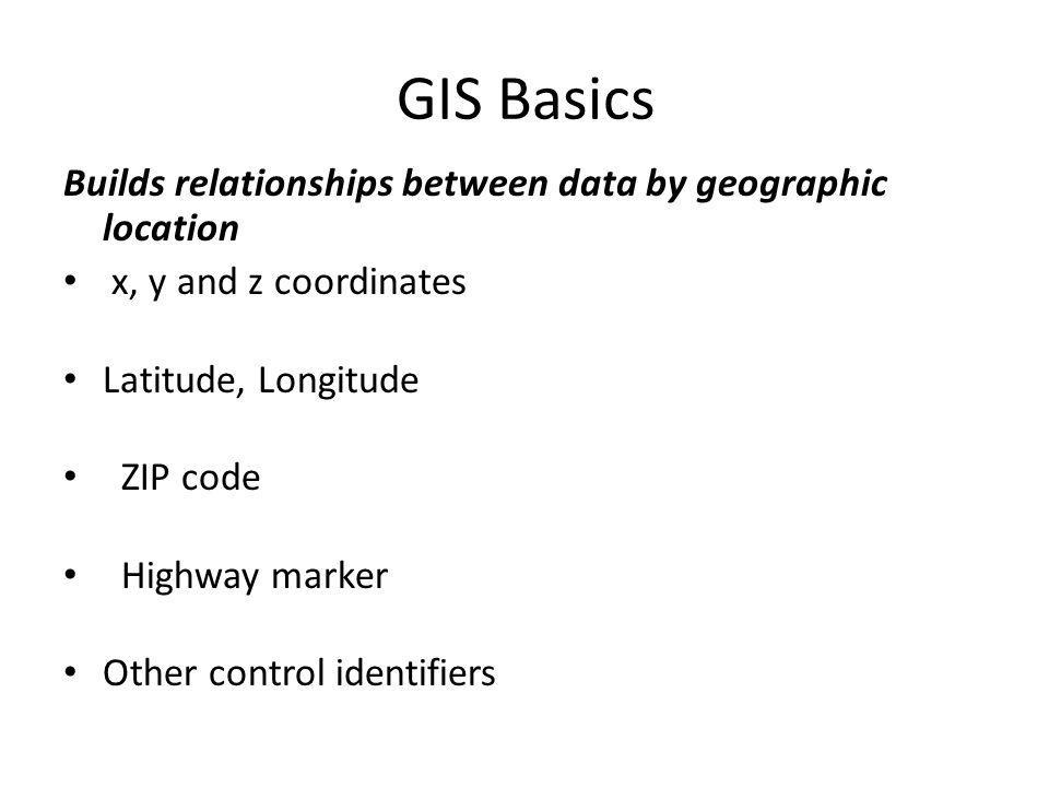 GIS Basics Builds relationships between data by geographic location