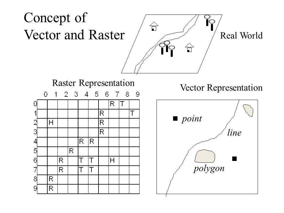 Concept of Vector and Raster Real World Raster Representation