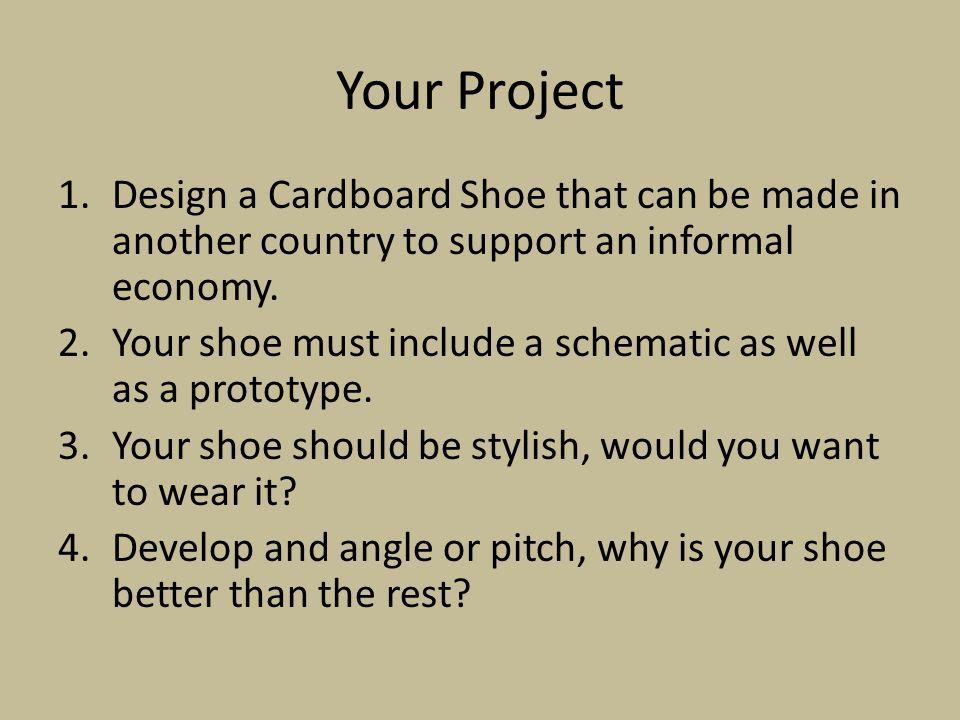 Your Project Design a Cardboard Shoe that can be made in another country to support an informal economy.