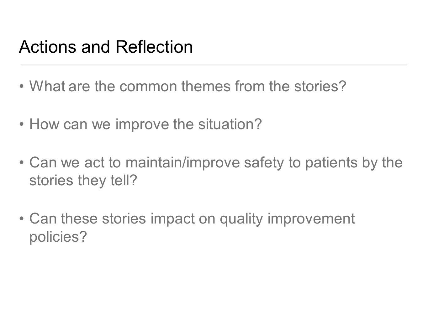Actions and Reflection