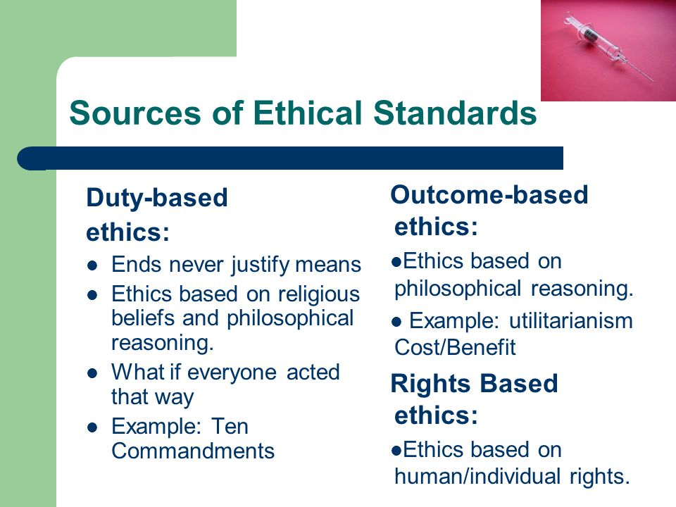 Sources of Ethical Standards