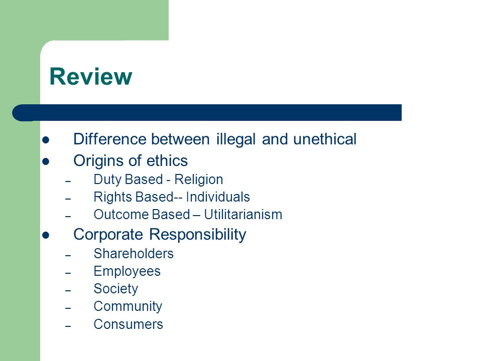 Review Difference between illegal and unethical Origins of ethics