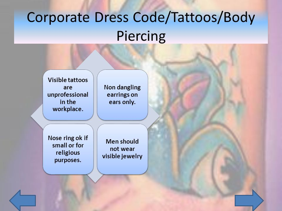 Corporate Dress Code/Tattoos/Body Piercing