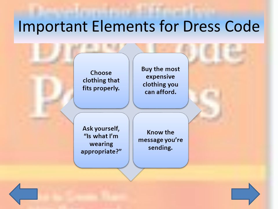 Important Elements for Dress Code