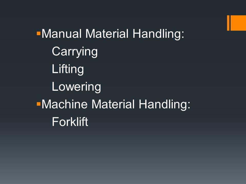 Manual Material Handling: