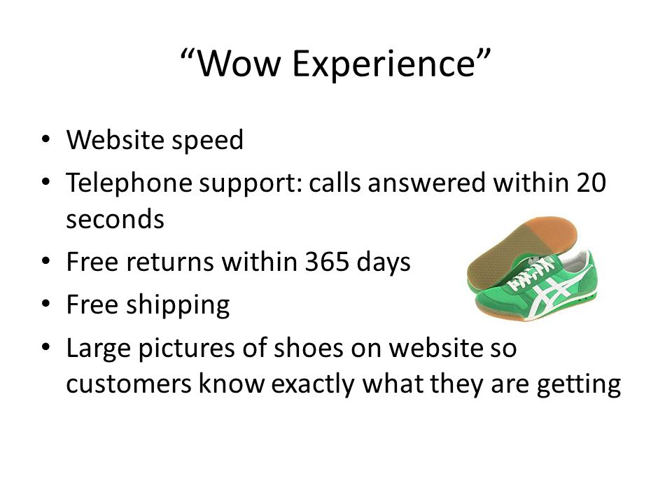Wow Experience Website speed