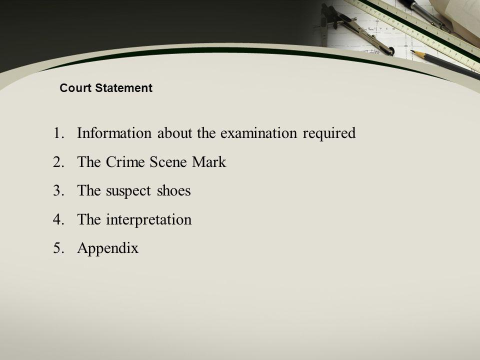 Information about the examination required The Crime Scene Mark