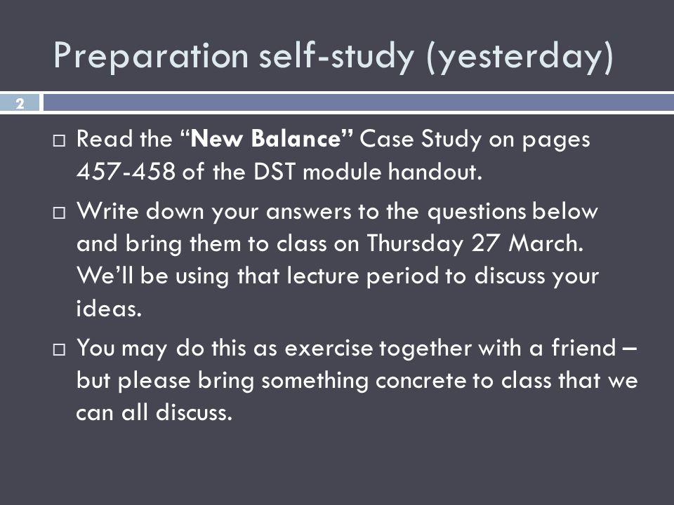 Preparation self-study (yesterday)