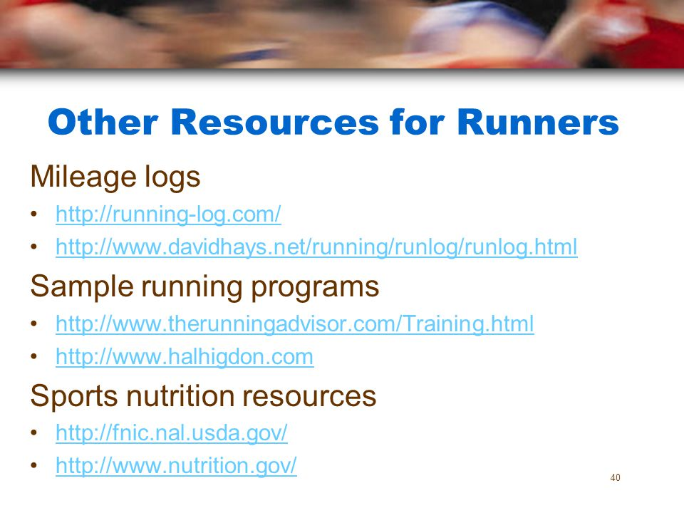 Other Resources for Runners