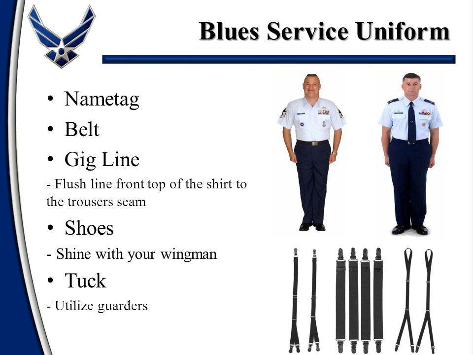 Blues Service Uniform Nametag Belt Gig Line Shoes Tuck