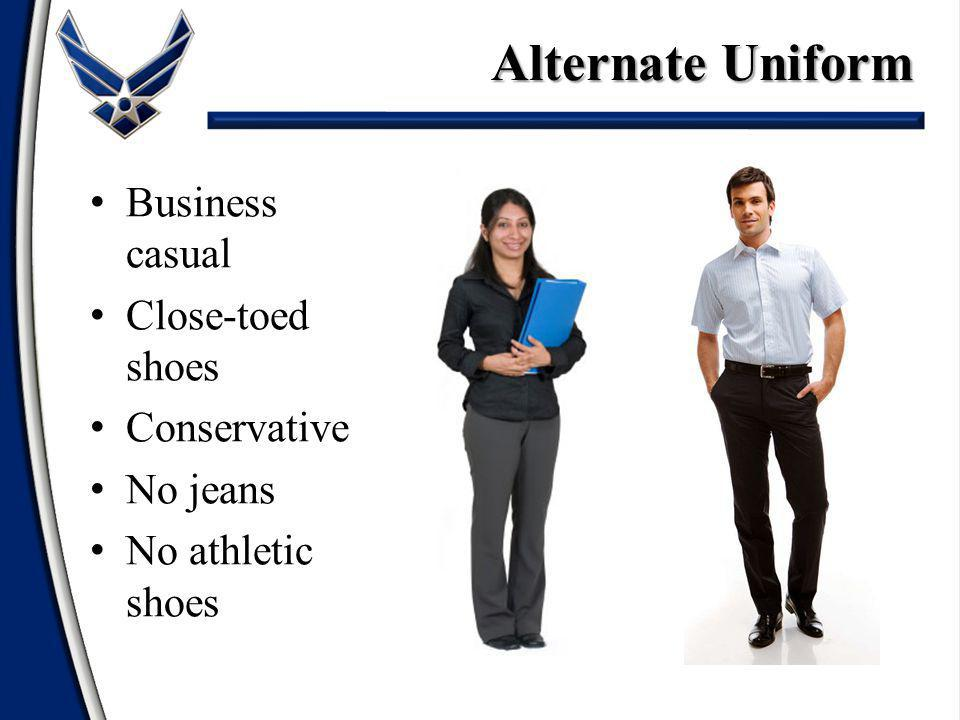 Alternate Uniform Business casual Close-toed shoes Conservative