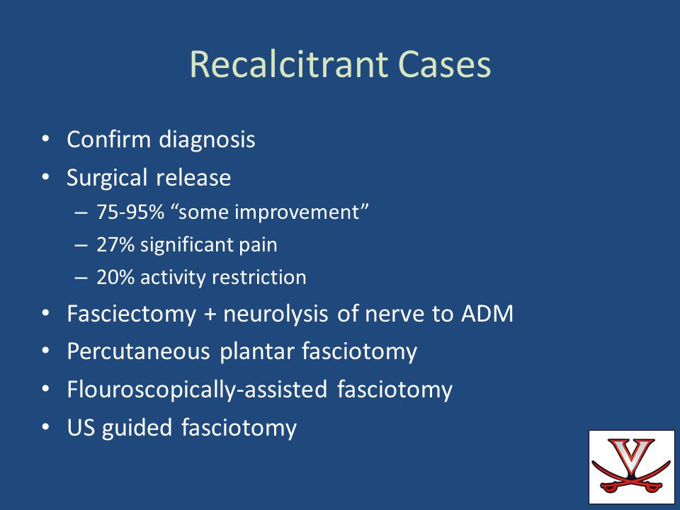 Recalcitrant Cases Confirm diagnosis Surgical release