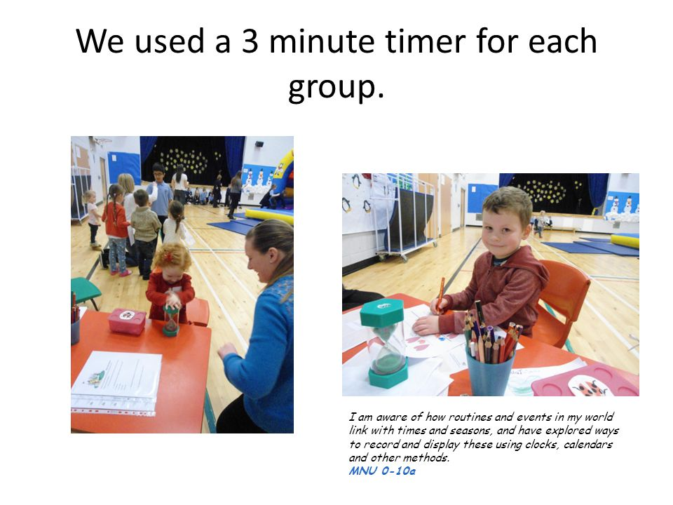 We used a 3 minute timer for each group.