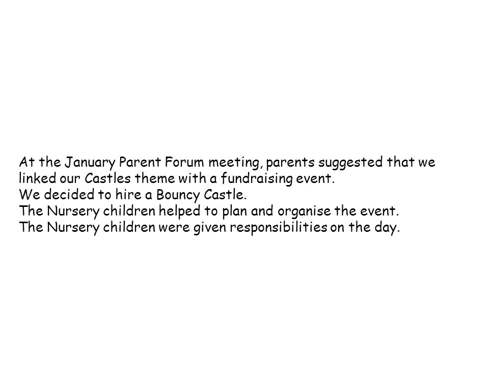 At the January Parent Forum meeting, parents suggested that we linked our Castles theme with a fundraising event.