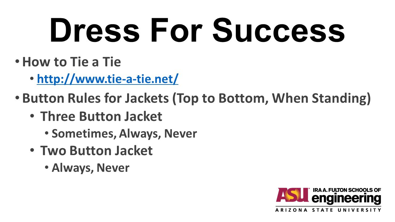 Dress For Success How to Tie a Tie