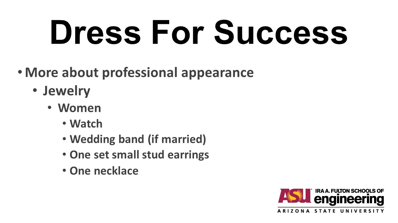 Dress For Success More about professional appearance Jewelry Women