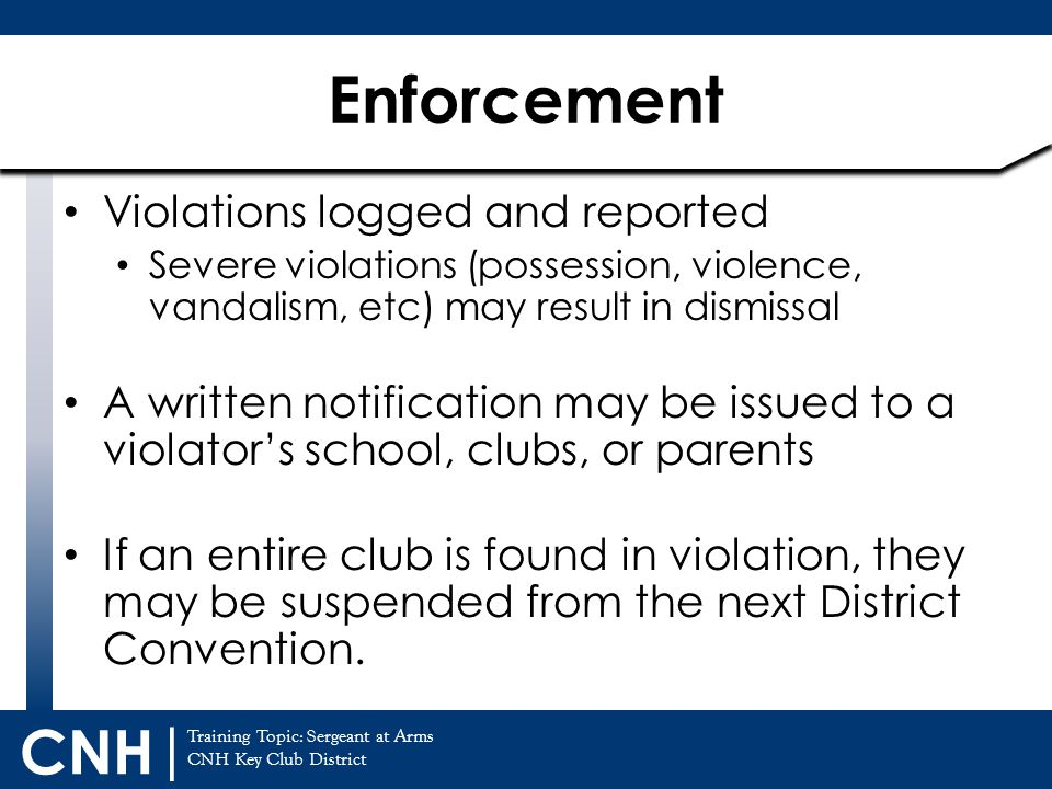 Enforcement Violations logged and reported