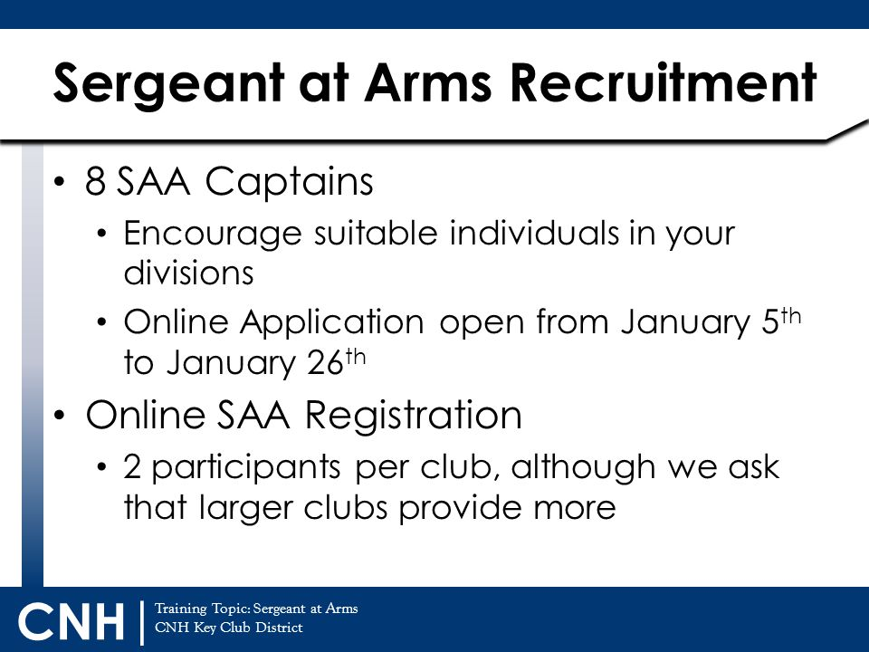Sergeant at Arms Recruitment