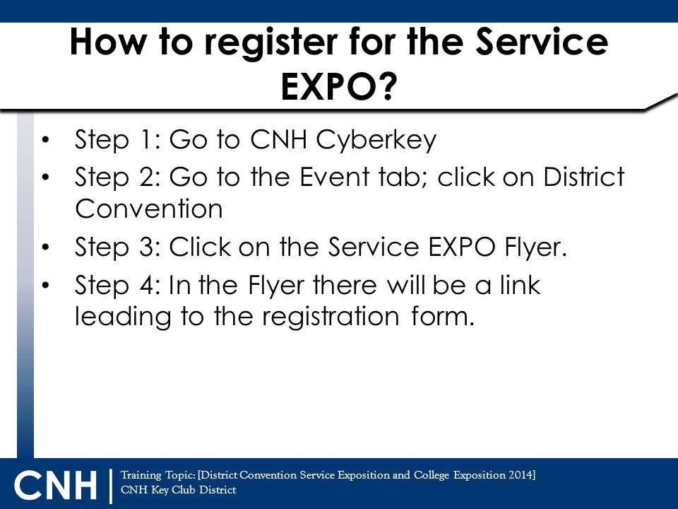 How to register for the Service EXPO
