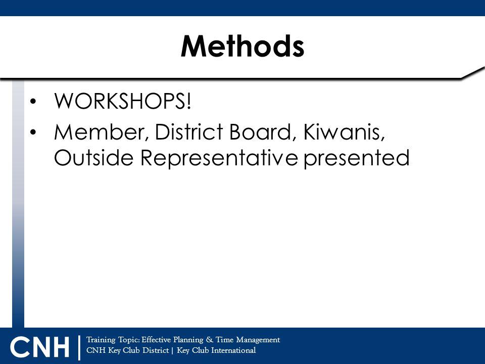 Methods WORKSHOPS! Member, District Board, Kiwanis, Outside Representative presented