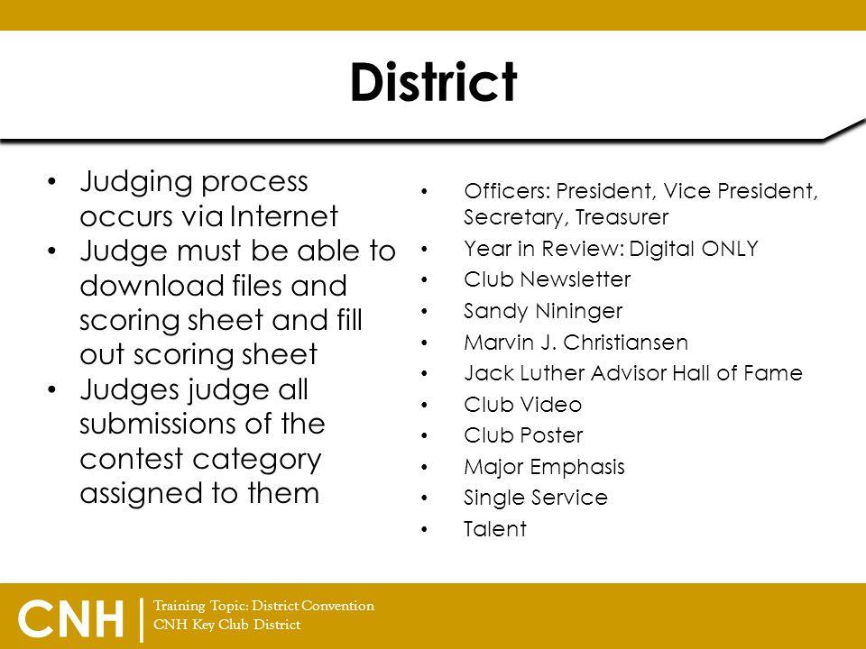 District Judging process occurs via Internet