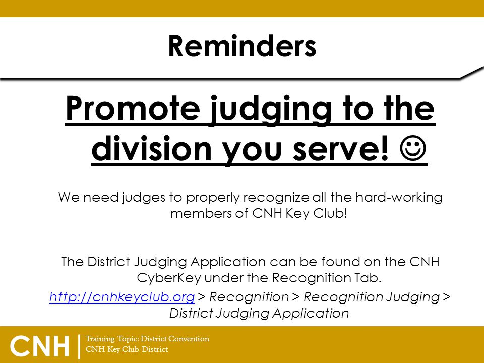 Promote judging to the division you serve! 