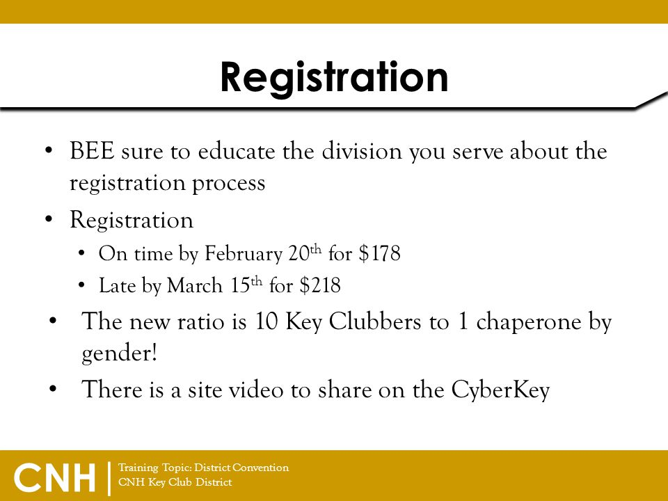 Registration BEE sure to educate the division you serve about the registration process. Registration.