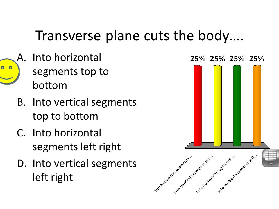 Transverse plane cuts the body….