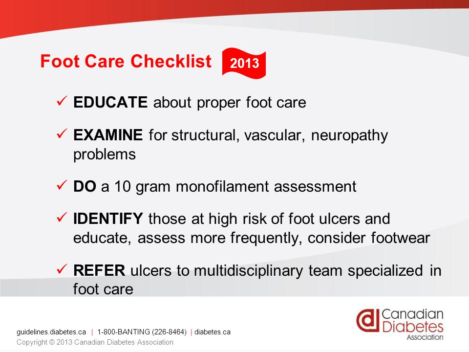 Foot Care Checklist EDUCATE about proper foot care