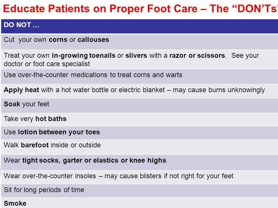 Educate Patients on Proper Foot Care – The DON'Ts
